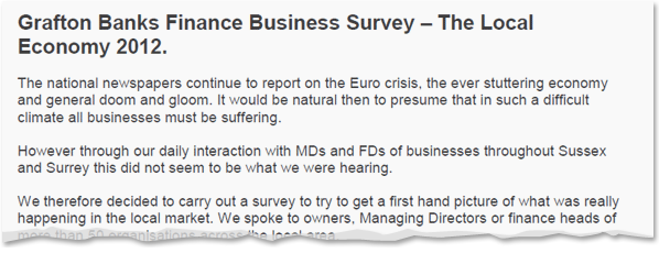Image for Grafton Banks Finance - Business Survey 2012 Results