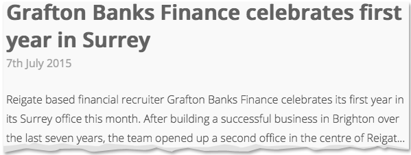 Image for Grafton Banks Finance celebrates first year in Surrey