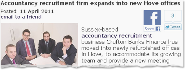 Image for Accountancy recruitment firm expands into new Hove offices