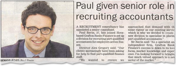 Image for Paul given senior role in recruiting accountants